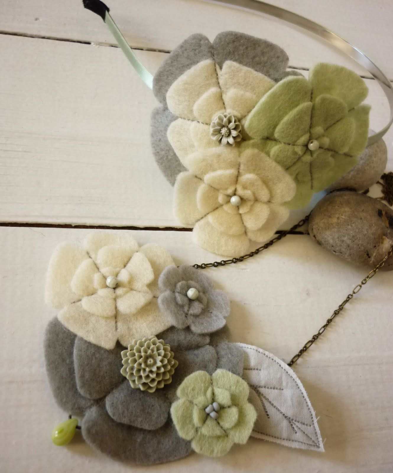 Felt flowers.  this blog is in Hungarian, but she has lots of inspiration pictures for felt brooches.