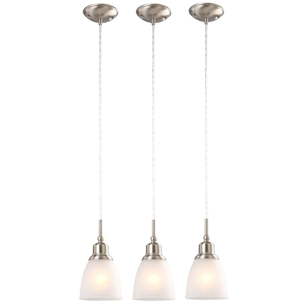 Commercial Electric 1 Light Brushed Nickel Mini Pendant 3 Pack Hbv8991 Bn Kitchen Lighting Fixtures Kitchen Lighting Fixtures Track Kitchen Pendant Lighting