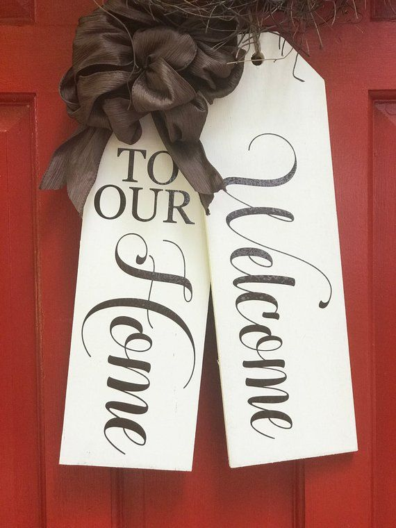 Large Wood Door Tags-Door Hanger-Welcome To Our Home-Hand