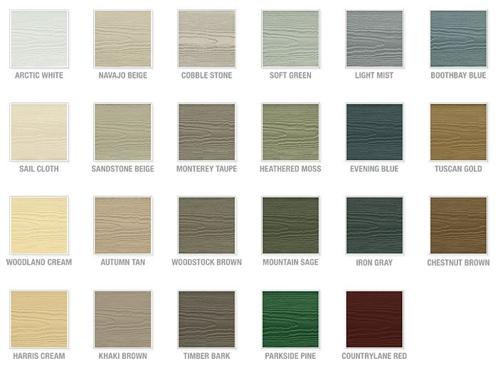 Hardie board colors chicago siding contractors vinyl james also color chart monterey taupe woodstock brown run them rh pinterest