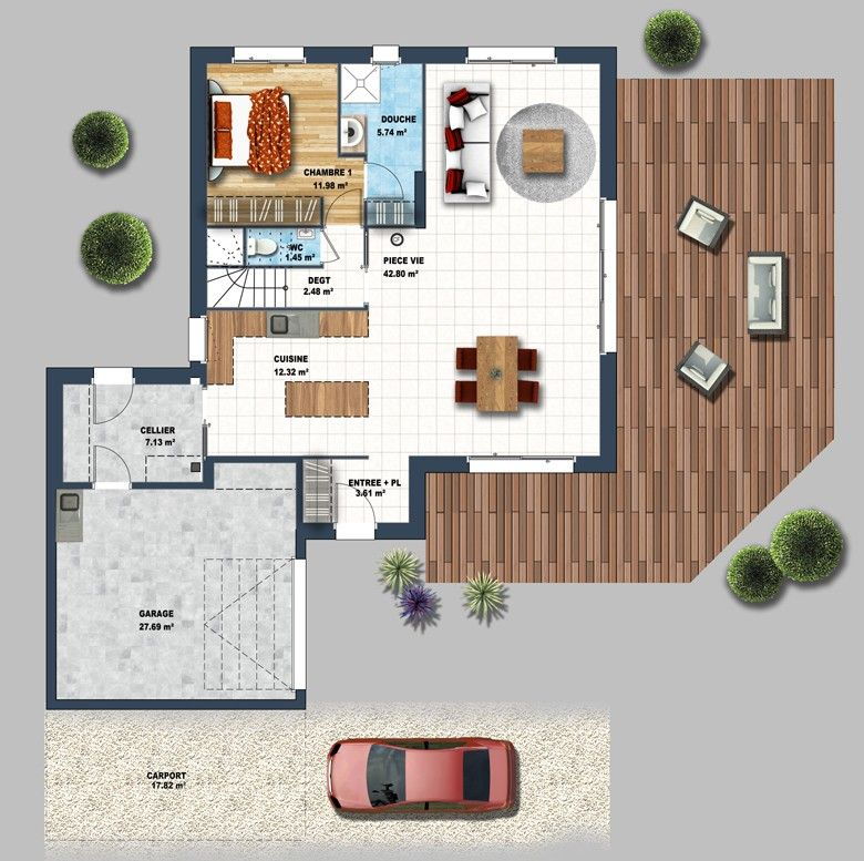 Constructeur maison contemporaine nantes zola 44 depreux for Maison contemporaine 44