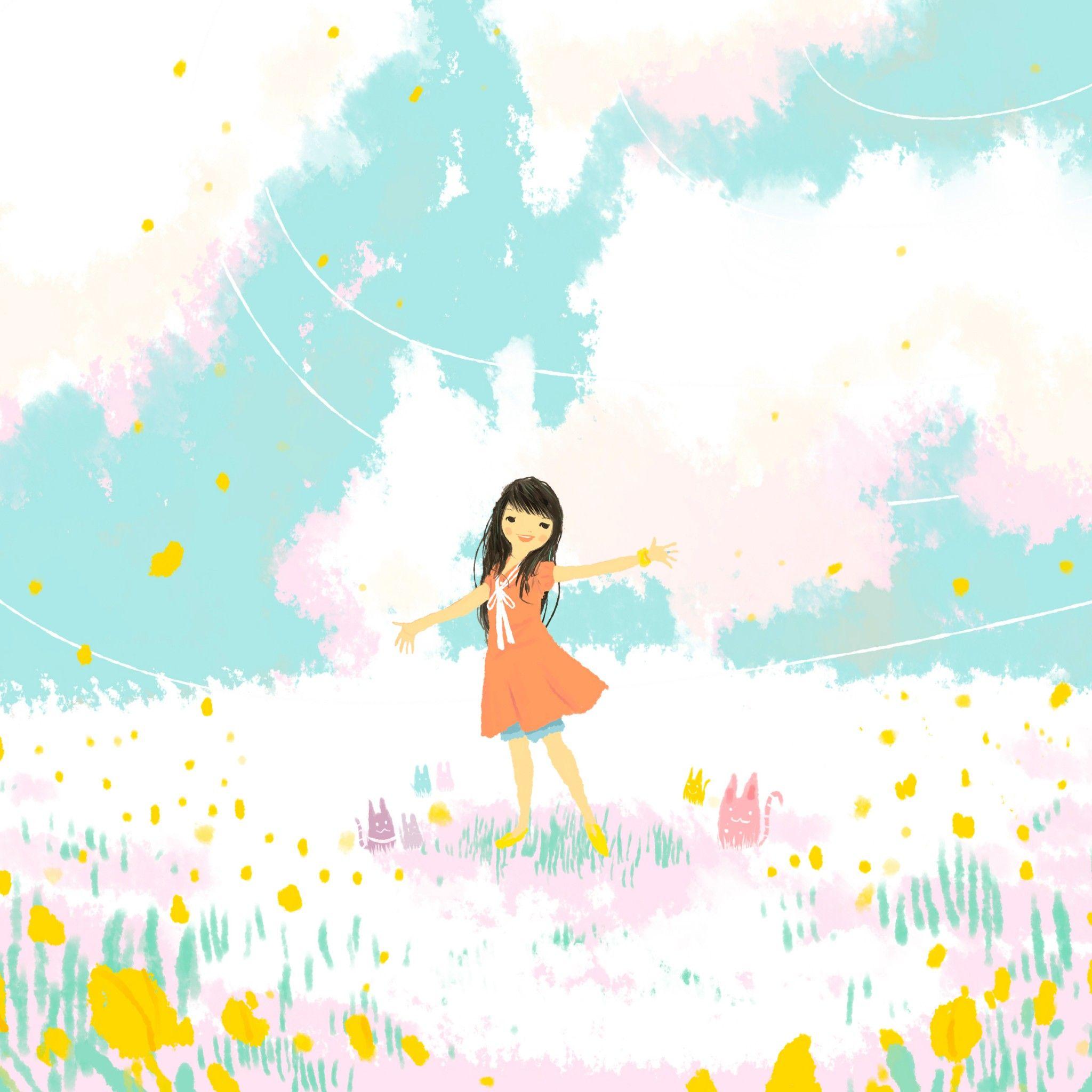 Flower Girl Drawing Wallpaper Cute Cartoon Wallpapers Cartoon Wallpaper