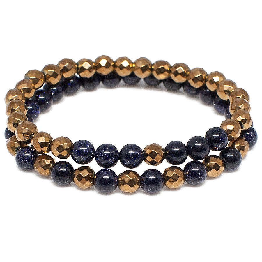 Exclusive kingus blue goldstone copper color hematite bracelet set