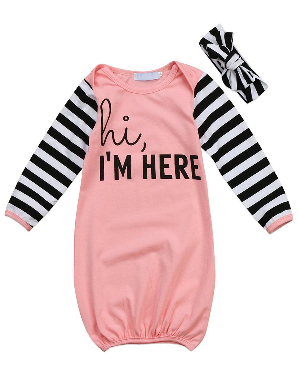 6ad4fc25f02 Canis Newborn Baby Boys Girls Long Sleeve Letters Print Sleep Bag Gowns  Striped Sleepsack Blanket 018M 80012M Pink     Visit the image link more  details.