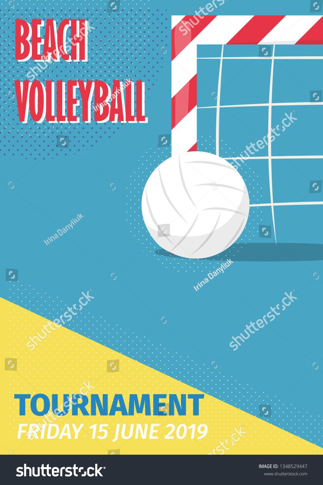 Beach Volleyball Sport Poster Vector Illustration Summer Playing Beach Volley Team Competition Invitation P Sport Poster Volleyball Posters Summer Invitation