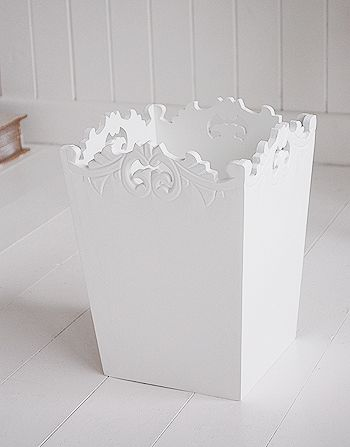 White Bathroom Home Accessories Decorative Wooden Wastepaper Bin