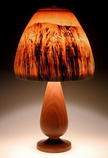 Beautiful Peter Bloch Turned Wood Lampshades Made From