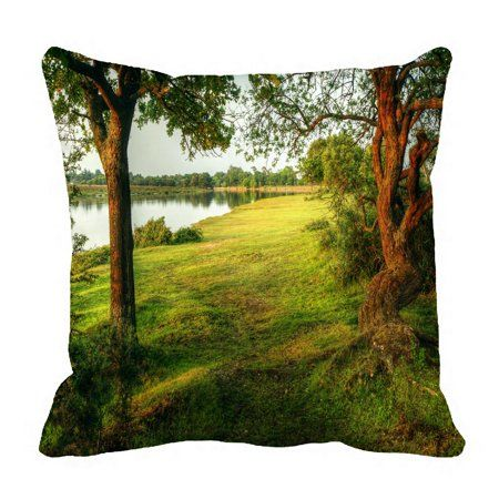 ECZJNT Fairytale style forest scene lake trees vibrant sunset Pillow Case Pillow Cover Cushion Cover 20x20 Inch