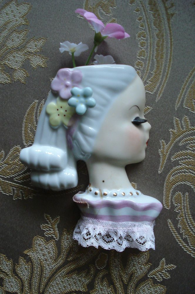 VINTAGE CERAMIC GIRL WALL POCKET~PLANTER~JAPAN in Pottery & Glass, Pottery & China, China & Dinnerware | eBay