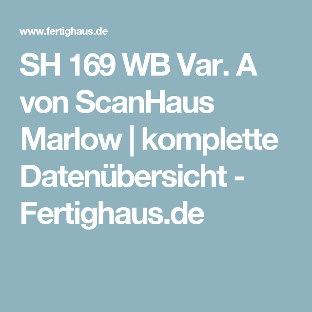 Scanhaus Marlow sh 169 wb var a scanhaus marlow komplette datenübersicht
