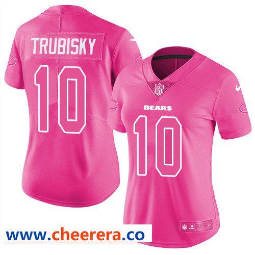 the best attitude f4e9b a117e Nike Bears #10 Mitchell Trubisky Pink Women's Stitched NFL ...
