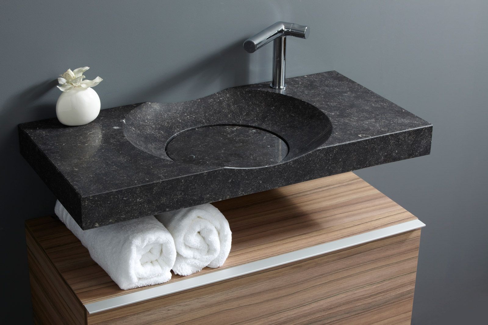 Belgian Bluestone Bathroom Sink Bowl Serie Model 90 With Drawer Cabinet.