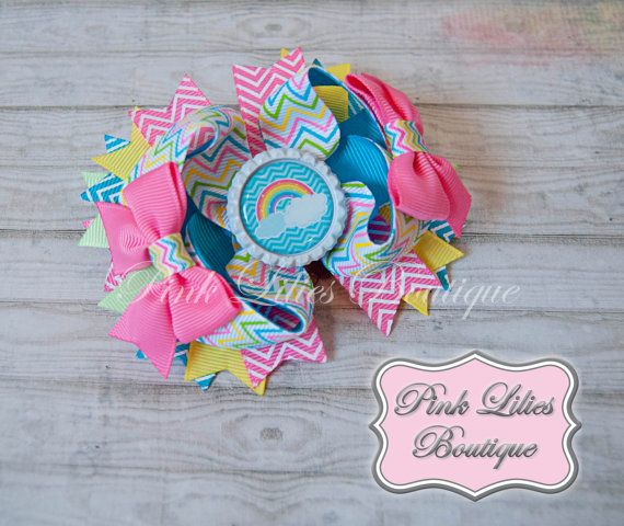 Pastel Rainbow Chevron Stacked Twisted Boutique Bow - Colorful Boutique Bow - Rainbow Over the Top Bow (Item #10028)