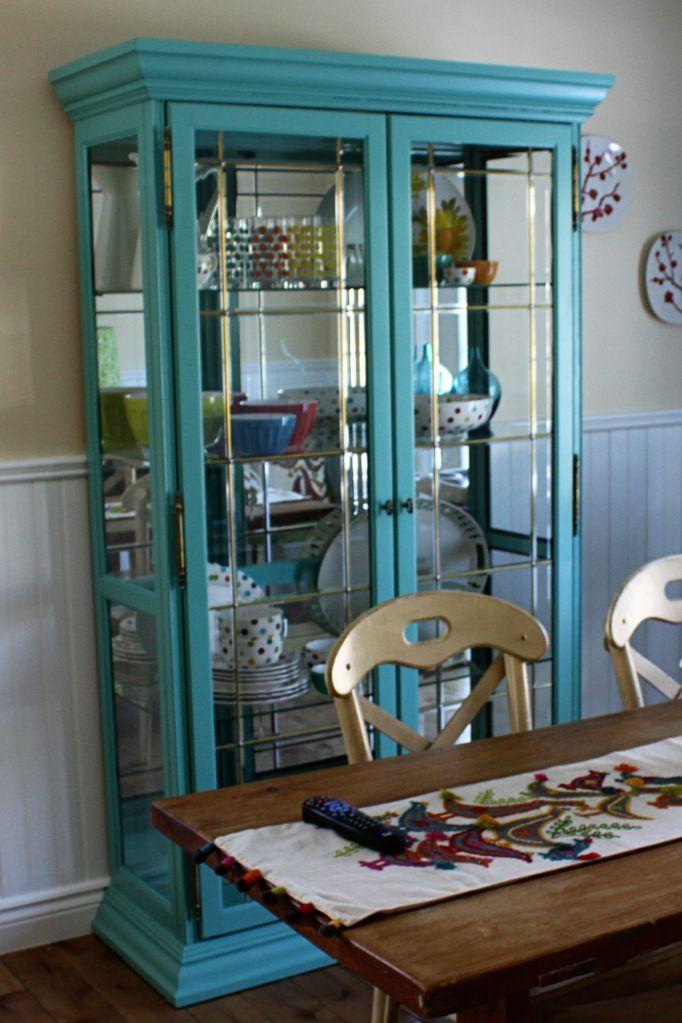 Florida Keys Blue China Cabinet Makeover