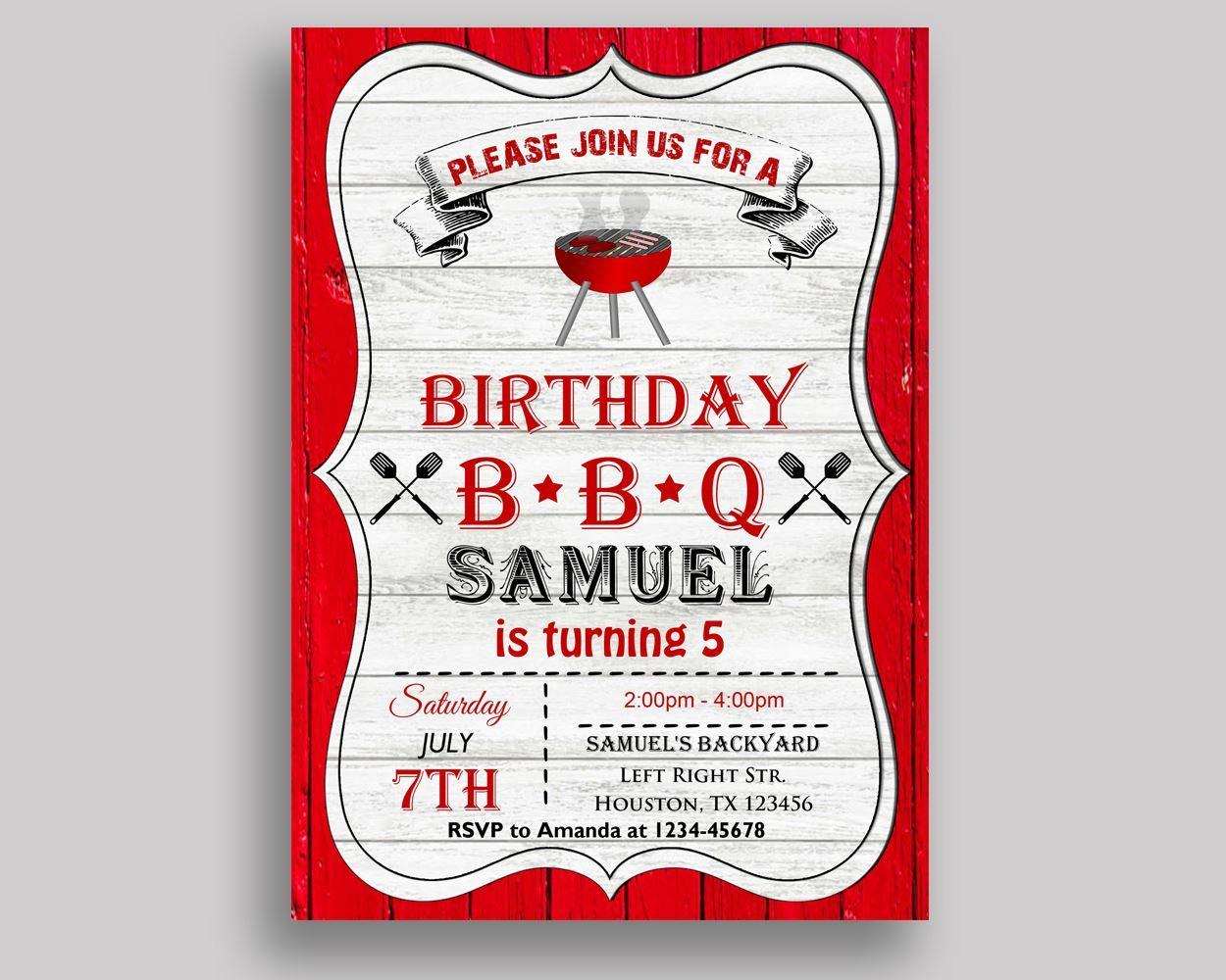 Editable Birthday Invitation Bbq Birthday Party Invitation Editable ...
