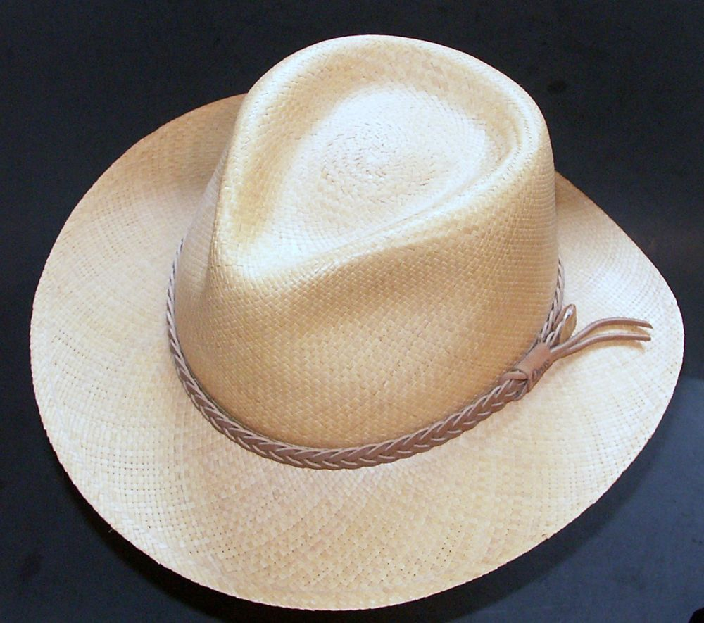 Orvis Men S Straw Hat Size L Xl Leather Band Genuine Panama Hand Woven Natural Leather Band Mens Straw Hat Hat Sizes