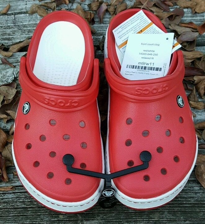 CROCS 14300 Front Court Clogs RED WHITE