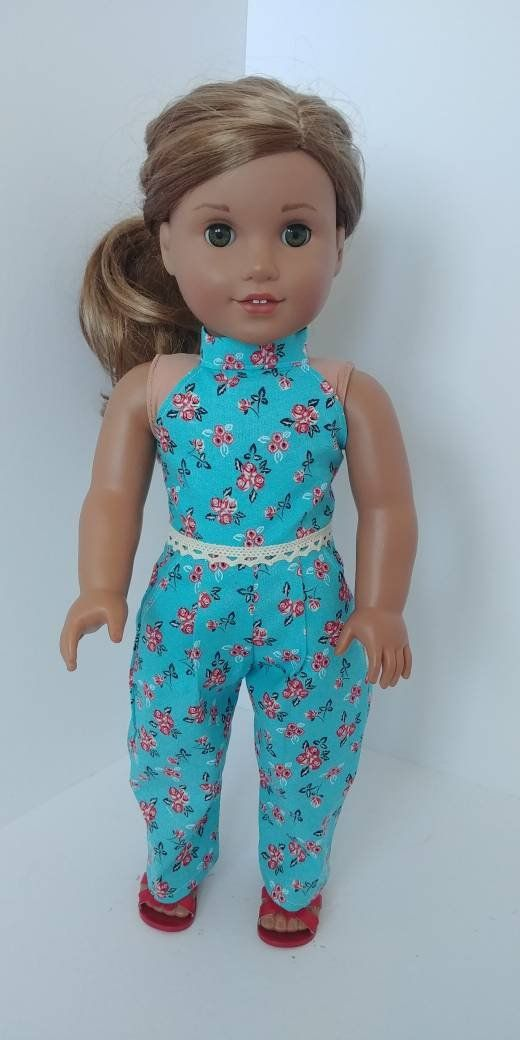 18 inch doll clothes. Fits like American girl doll clothes. 18 inch doll clothing. Vintage print jumper #americandolls