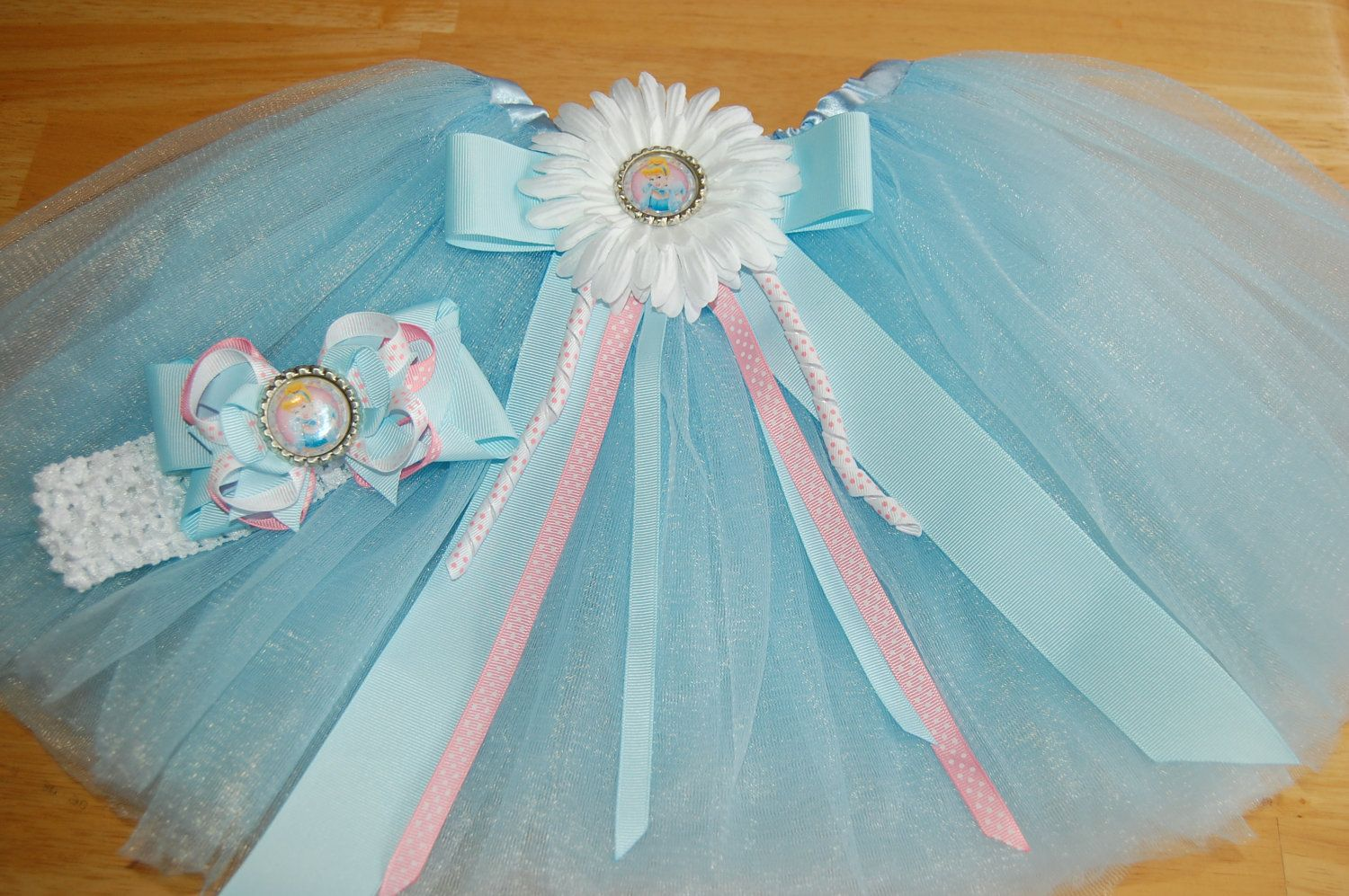 Cinderella Tutu and Boutique Hair Bow with by SweetbeanzBoutique