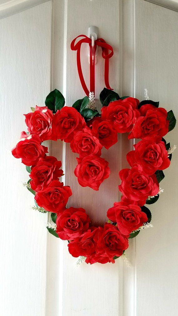 Valentine Wreath Heart Shaped Wreath Red Heart Wreath Valentine Door Decor Red Roses Wreath Vale Valentine Door Decorations Valentine Decorations Gift Wreath