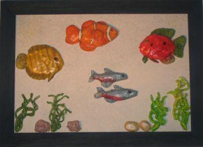 Un cadre aquarium en pâte à sel + peinture