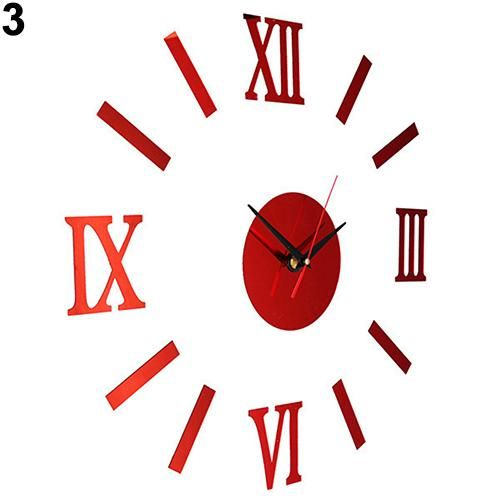 Photo of Vintage Roman Numerals Frameless Wall Clock 3D Home Decor Wall Art Stickers – Red