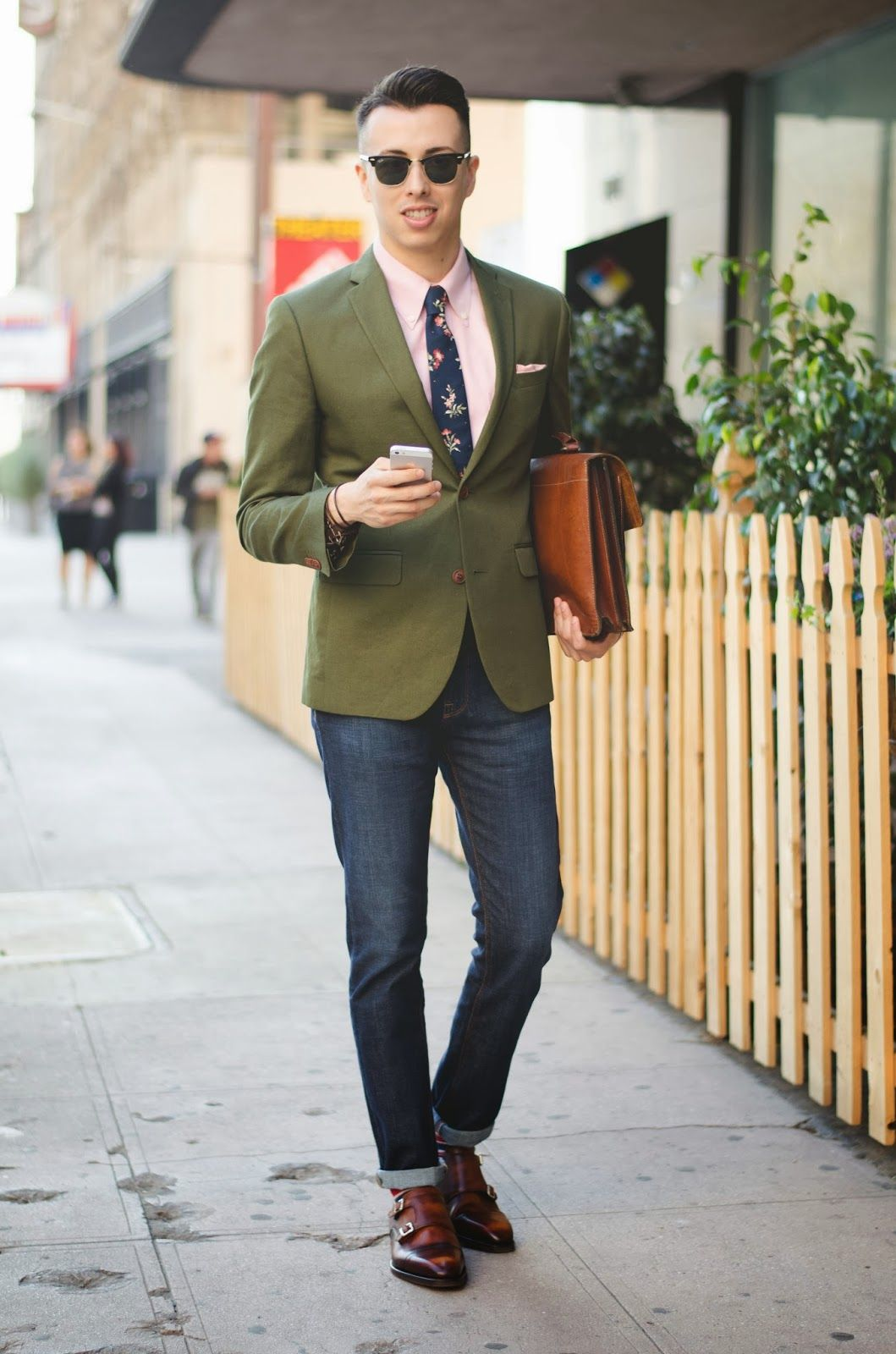 Men's Dark Green Blazer, Pink Dress Shirt, Navy Jeans, Brown ...