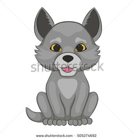 cute cartoon wolf cub forest animal isolated on a white background rh pinterest com cute cartoon wolf pup howling cute cartoon wolf drawings