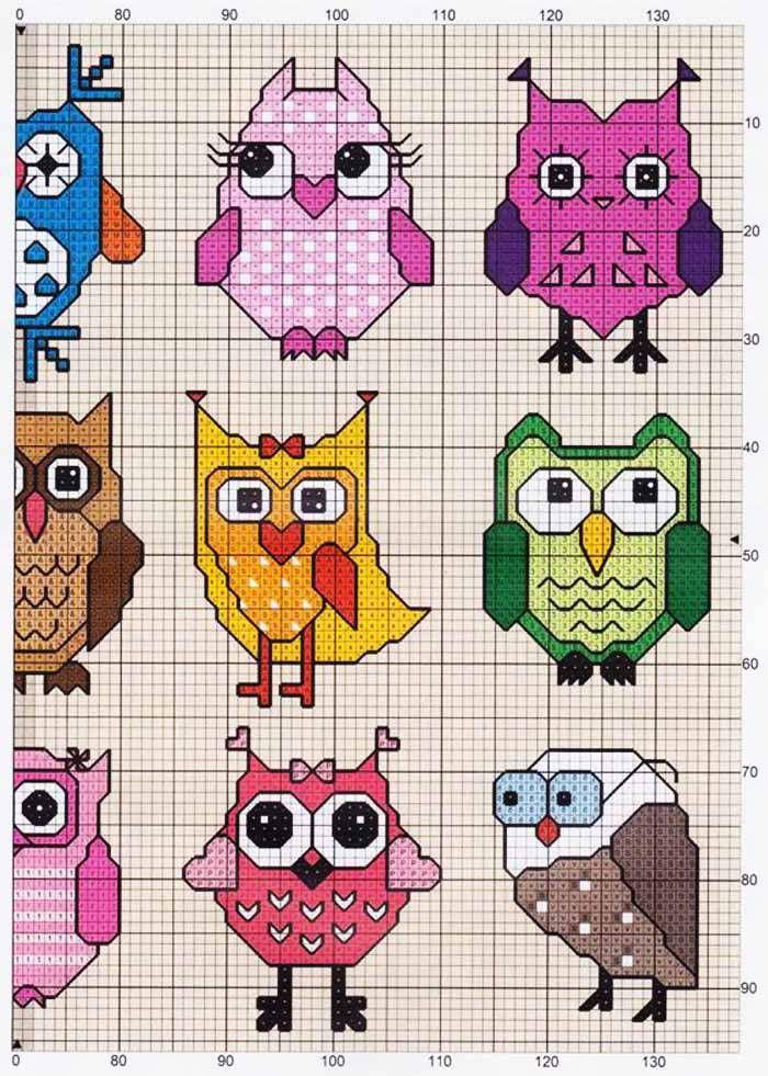 Owls (2 of 2) -- free cross stitch pattern | Búhos | Pinterest ...