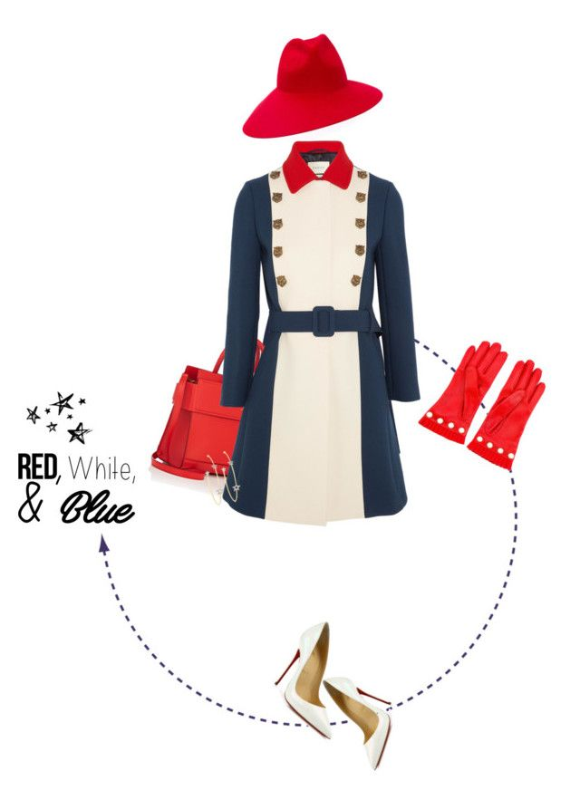 """""""Red, white, & blue ..."""" by sharmarie ❤ liked on Polyvore featuring Gucci, Givenchy, Christian Louboutin and PERLOTA"""