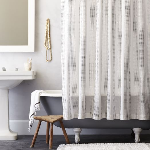 Dotted Stripe Shower Curtain, Slate | Home Sweet Home | Pinterest ...