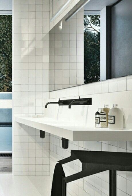 White Square Tile Bathroom white square tile in lieu of the expected subway tile. | pavia