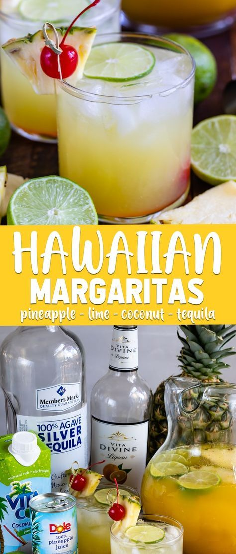 Hawaiian Margaritas are a tropical pineapple margarita with coconut! Just a few ingredients makes these easy cocktails perfect for margarita lovers. #alcoholicpartydrinks
