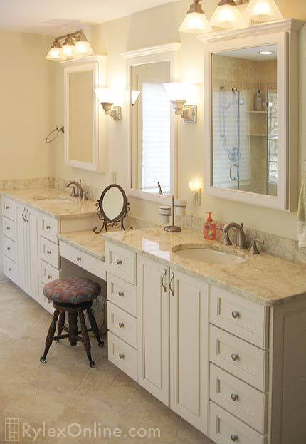 Bathroom vanity with makeup counter granite bathroom for Long bathroom vanity