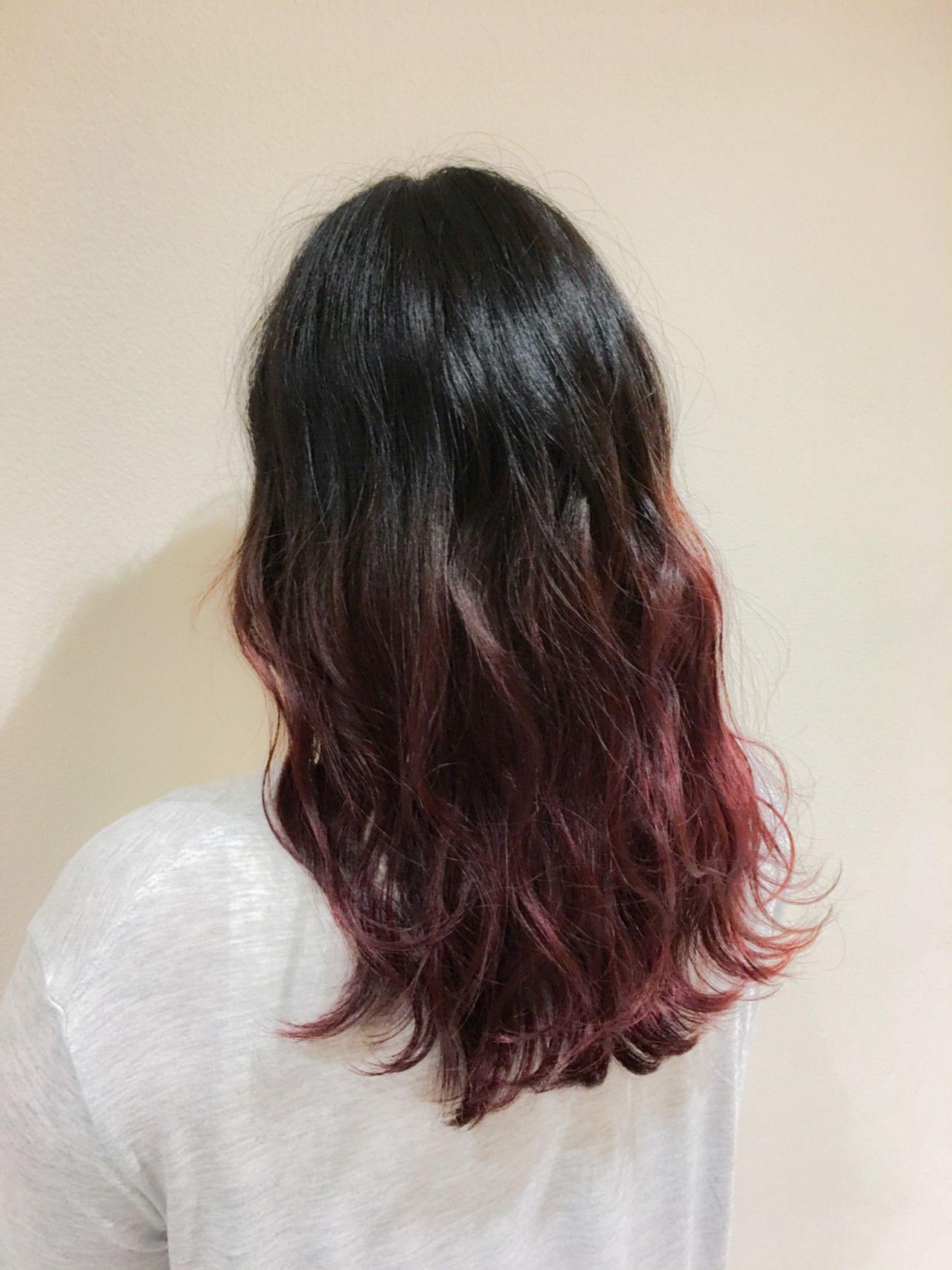 ピンク セミロング グラデーションカラー 外国人風 レシェル多治見 水野靖己 292837 Hair ヘア アイディア 黒髪