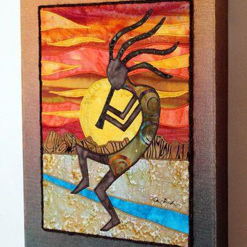 Kokopelli, Native American, Southwest art, Art quilt on canvas ... : kokopelli quilt pattern - Adamdwight.com