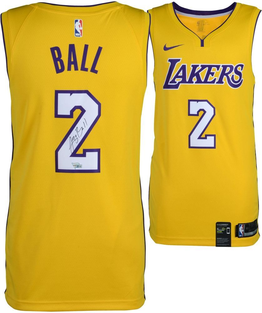bbf341a5d16 Lonzo Ball Los Angeles Lakers Autographed Nike Gold Swingman Jersey  #sportsmemorabilia #autograph #basketballjersey