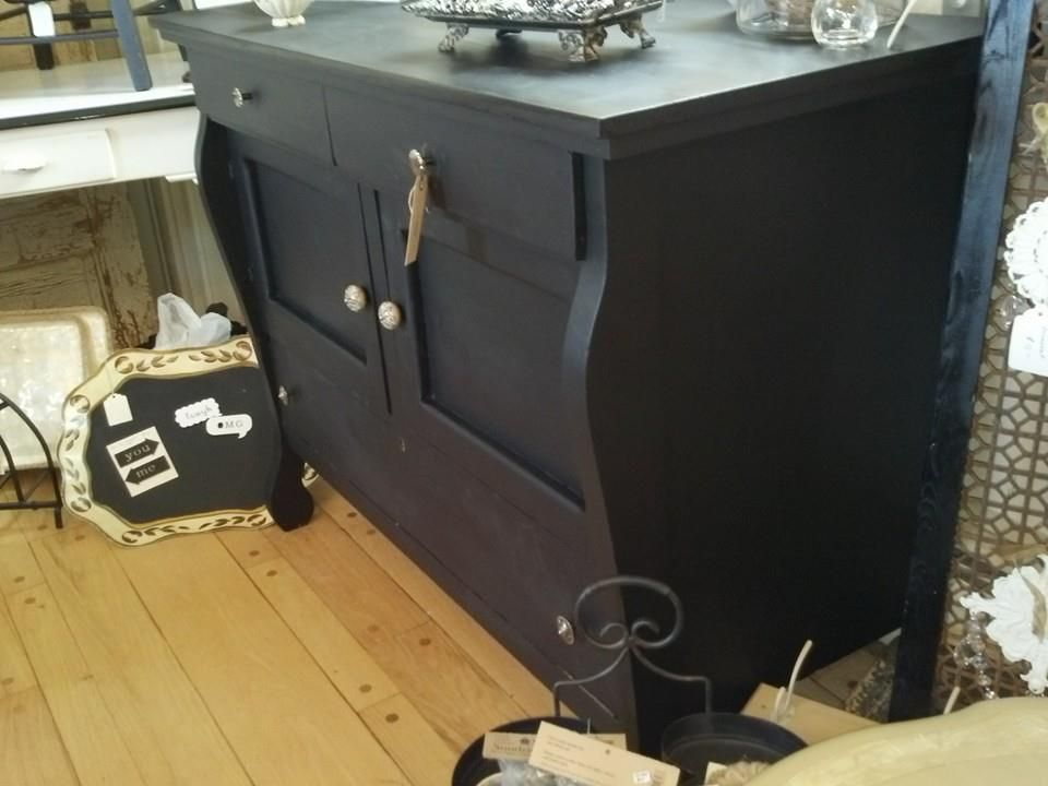 Server/Cabinet painted Lamp Black by General Finishes.