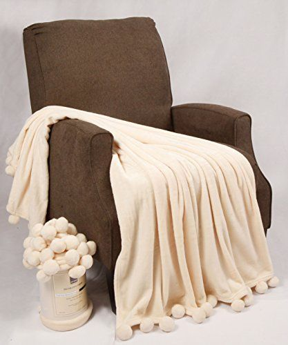"Throw Blankets For Couches Bnf Home Pompom Bed Couch Throw Blankets 5060"" Antique White"