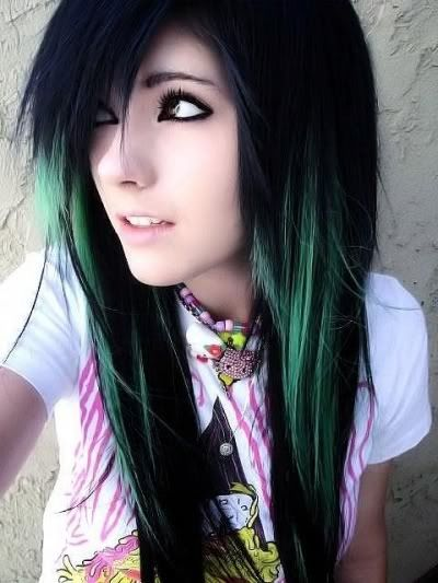 green and black hair cute emo