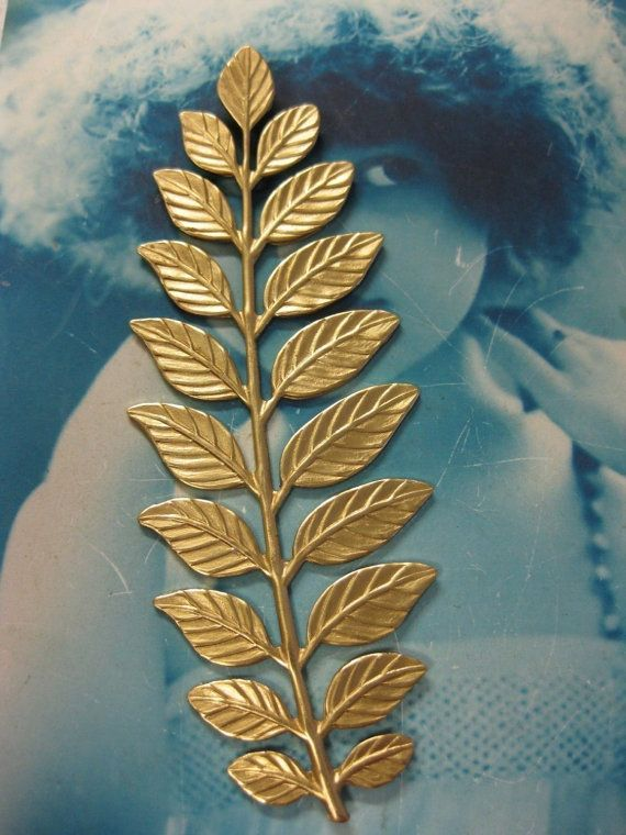 Large Brass Leaf Branch Stampings Great for by dimestoreemporium, $4.00
