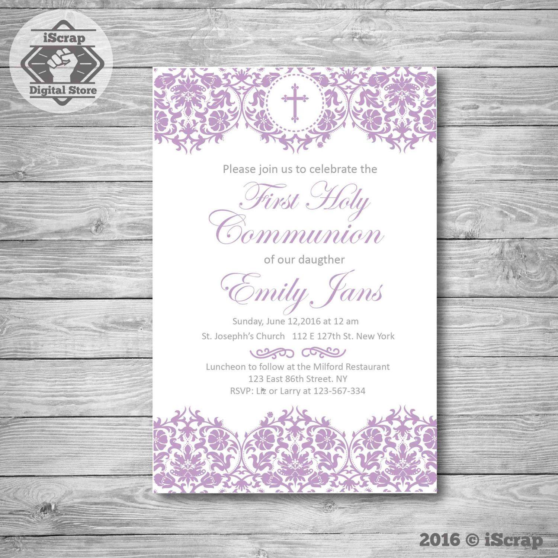 Primera comunión invitación, invitar comunión bautizo invitación de ...
