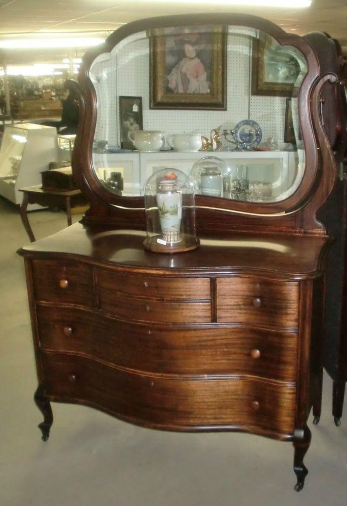 Antique Serpentine Front Large Dresser With Large Wishbone
