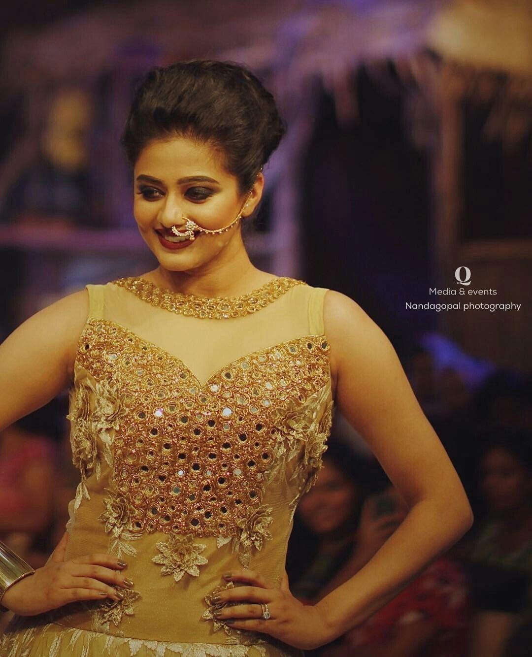 Priya Mani looking elegant in gold mirror worked bridal gown. AanDe by Aanu  Nobby