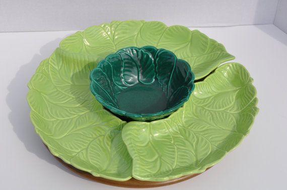 vintage california pottery cabbage leaf lazy susan serving platter by