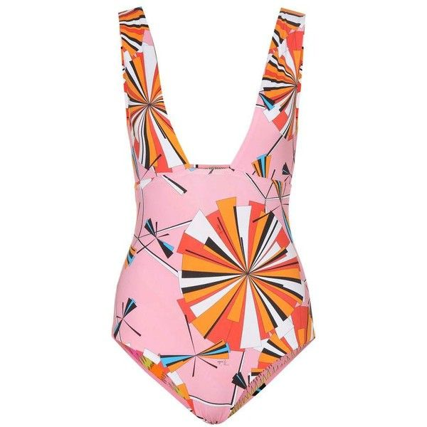 78bd7df1108a7 Emilio Pucci Beach Reversible Printed Swimsuit ($415) ❤ liked on Polyvore  featuring swimwear, one-piece swimsuits, swimwears, bathing suit,  multicoloured, ...