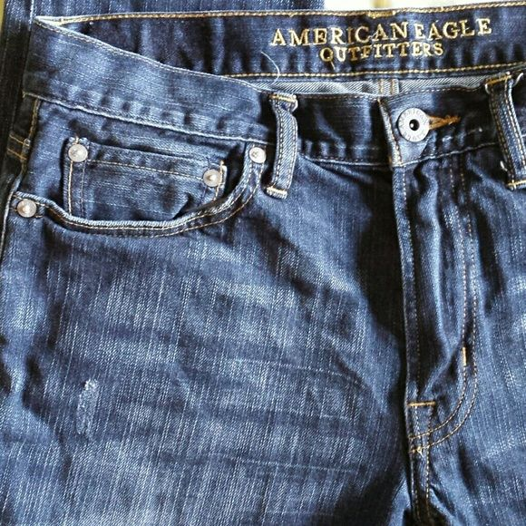 """American Eagle Men's Slim Jeans 30 X 32 Minimal wear. Wiskering  factory distressed dark wash. Waist 16 """" Rise 9.5 """" Inseam 31.5 """" Length 41 """" American Eagle Outfitters Jeans"""