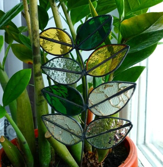 Stained glass plant Green leaves Decoration for vases Tiffany | Etsy