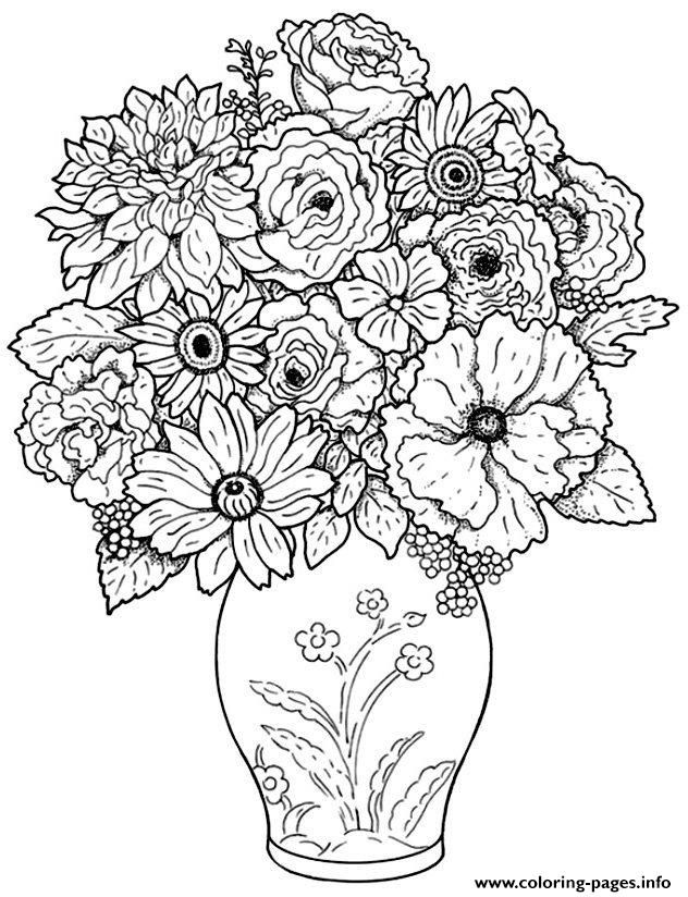 Print Adult Difficult Bouquet Coloring Pages Detailed Coloring