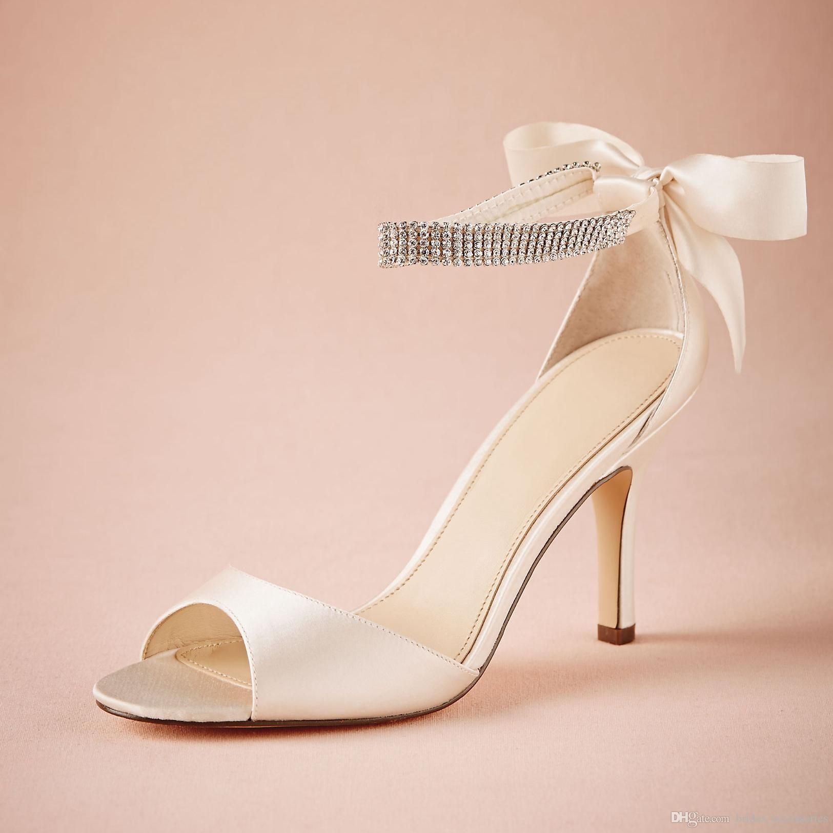 Ivory Satin Wedding Shoes Bowtie At Back Rhinestones Ankle Strap Sandal For Women Bridal Accessories 3 Wrap Heel Crystal Bow Heels Nz Bronze